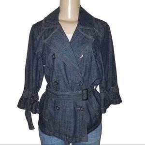 Jackets & Blazers - FRENCH CUFF Cotton Denim Button Wrap Jacket Coat M